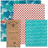 LilyBee Beeswax Wrap Reusable Food Wraps | 3 Pack Sustainable Zero Waste Bees Wax Food Wrappers | Biodegradable & Plastic Free Clingwrap Alternative (FLAMINGO ISLAND)