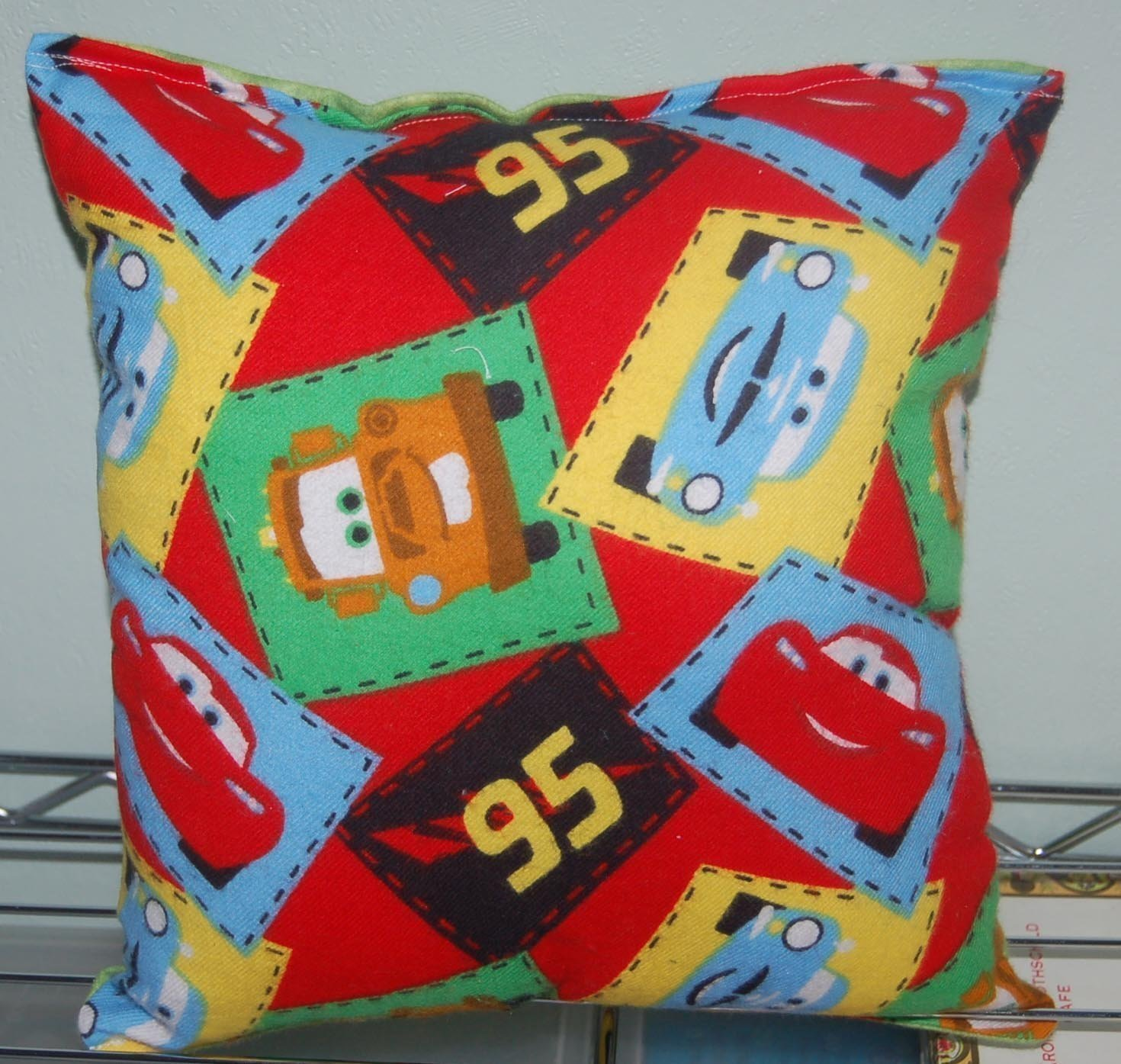 "Cars Pillow Disney Cars Pillow HANDMADE McQueen Mater Pillow Nursery Style Made in USA Pillow is approximately 10"" X 11"