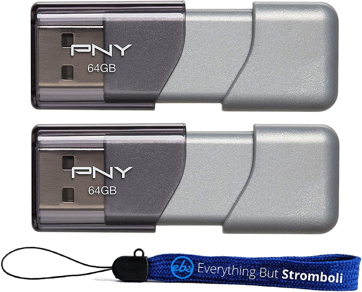 PNY USB 3.0 Flash Drive Elite Turbo Attache 3 Two Pack Bundle with (1) Everything But Stromboli Lanyard (64GB 2 Pack, Gray)