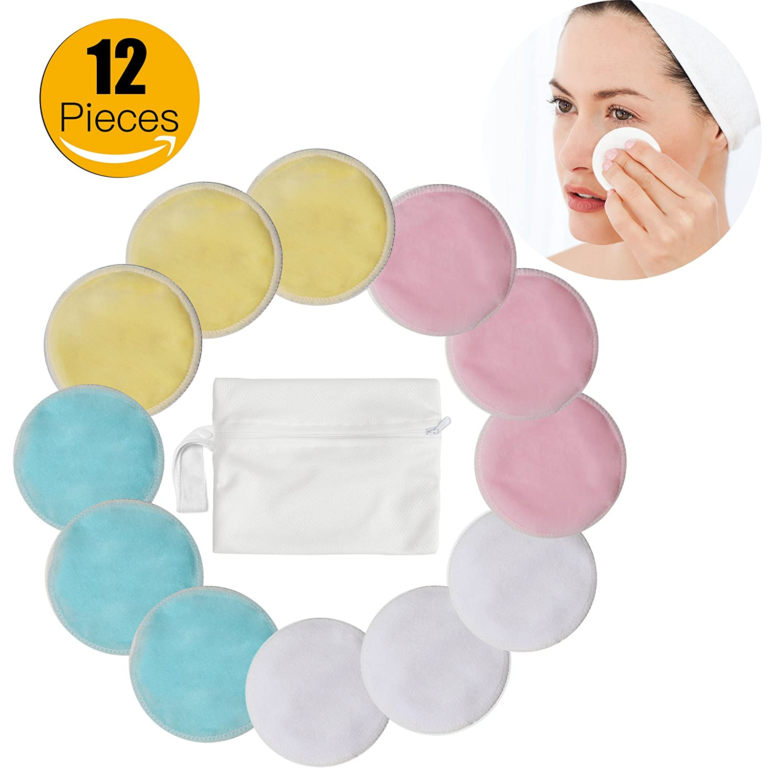 Makeup Remover Pads - Navly Reusable Makeup Soft Remover Cloth,Washable Organic Bamboo Cotton Rounds, Wipes Face/Eye Clean for Women Men(12 Packs)