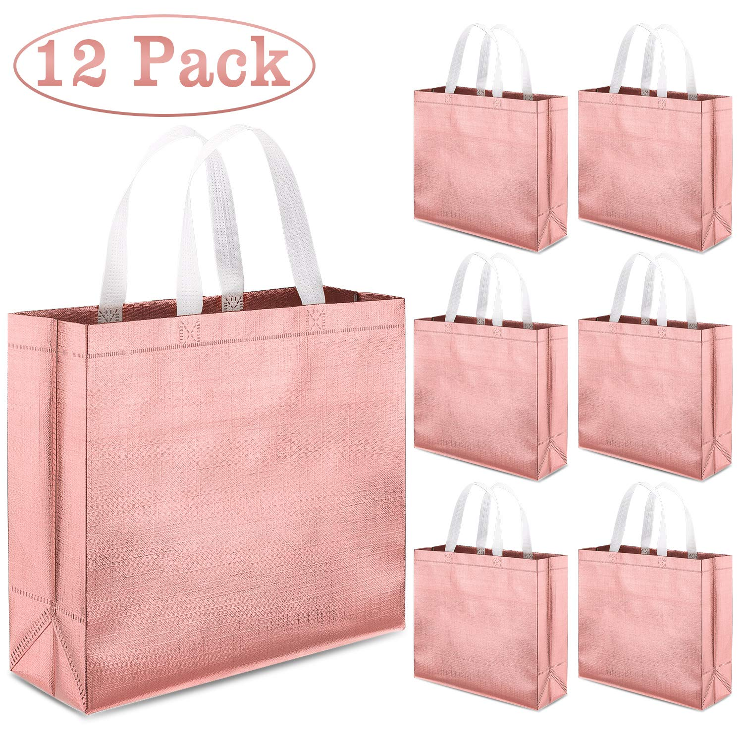 Whaline Set of 12 Glossy Reusable Grocery Bag, Tote Bag with Handle, Non-woven Stylish Present Bag, Gift Bag, Goodies Bag, Shopping Bag, Promotional Bag, for Party, Event, Wedding, Birthday(Rose Gold) by Whaline