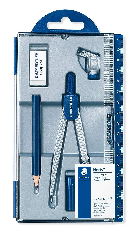 Staedtler Noris Club 550 60 S1. Set de dibujo con estuche, compás escolar, tubo de minas, lápiz y goma de borrar