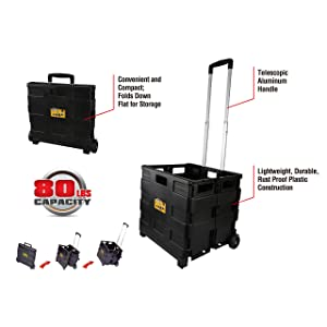 Olympia Tools 85-010 Grand Pack-N-Roll Portable Tools Carrier, Plastic Foldable Crate, Telescopic Handle, 2 Wheels Rolling Utility Cart, Heavy Duty Light Weight 80LB Load Capacity, Black