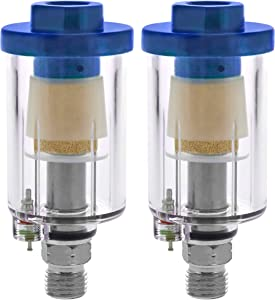 TCP Global Mini in-Line Air Filter, Oil and Water Separator (Pack of 2) - Drain Valve, Water Trap, Air Dryer, Removes Moisture, Dirt - Use on Compressor Air Line Hose, Air Tools, Paint Spray Guns