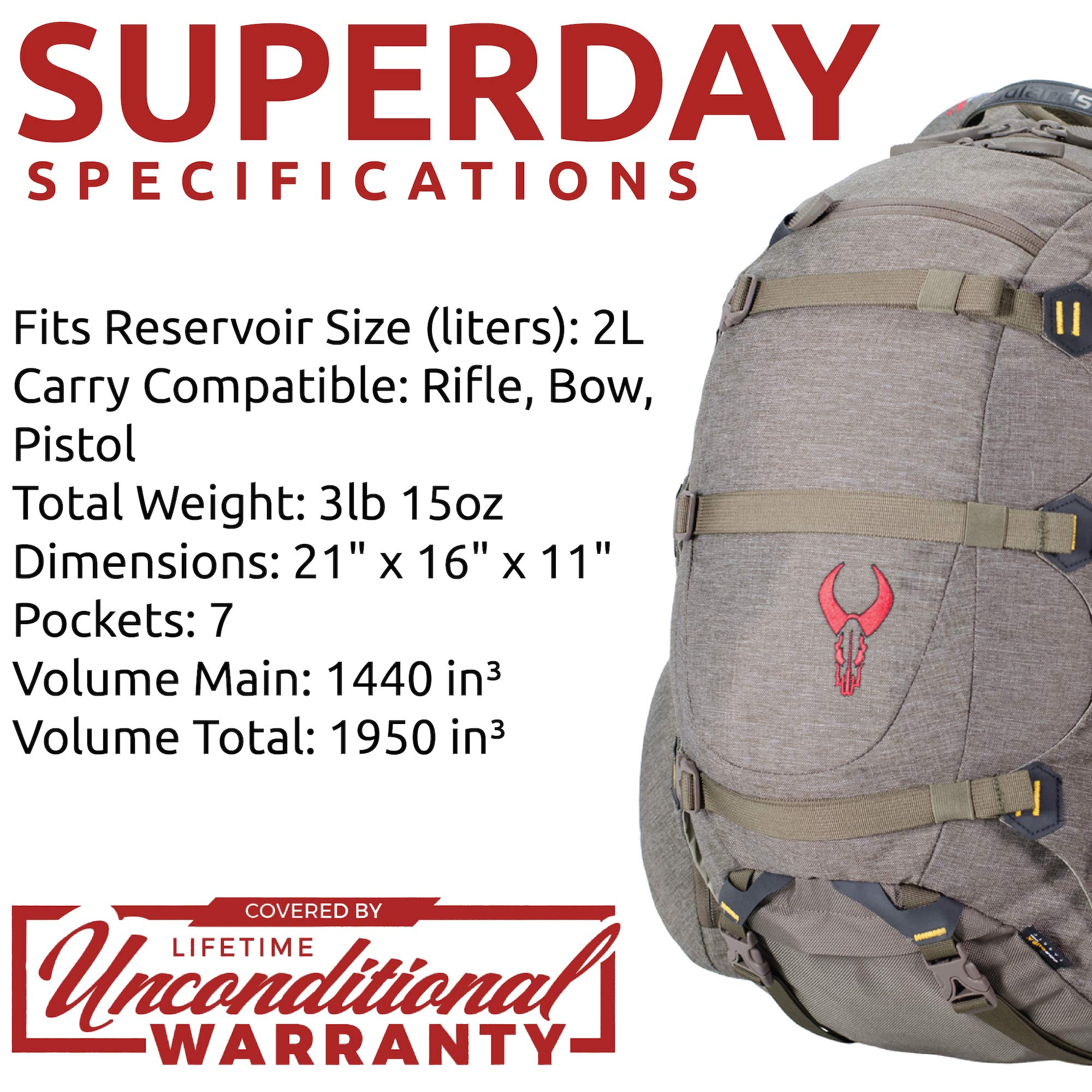Badlands Superday Hunting Backpack - Bow, Rifle, and Pistol Compatible, Solid by Badlands (Image #5)