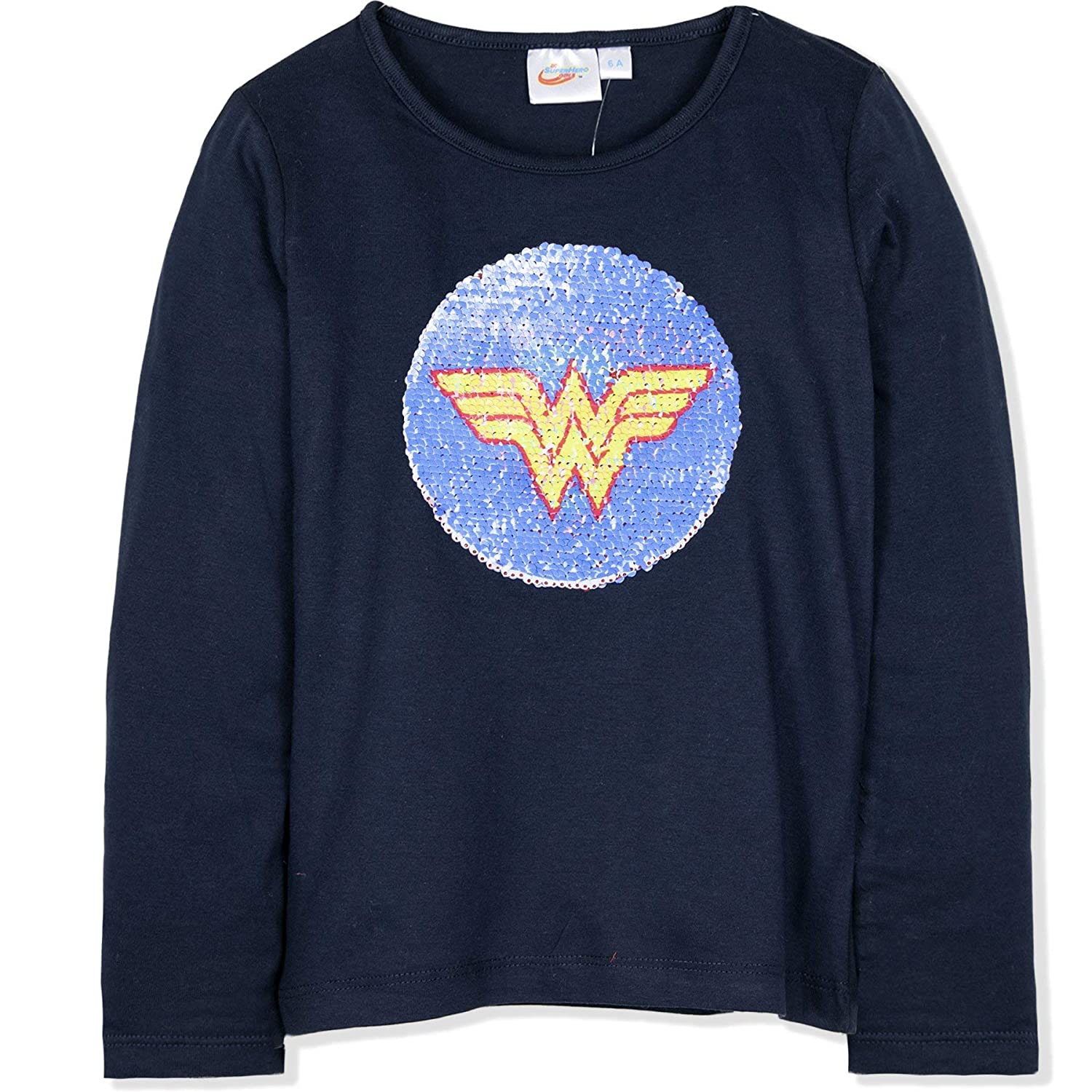 DC Super Hero Girls Official Licensed Long Sleeve Top T-Shirt 100/% Cotton with Reversible Sequins 3-10 Years