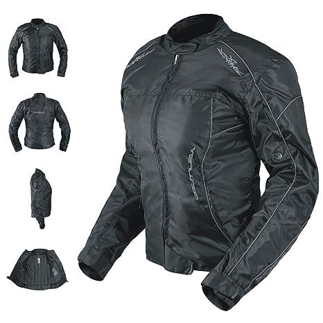A-Pro Oxford Jacke Damen Textil Protektoren Thermoweste Motorrad Wasserdicht Schwarz S