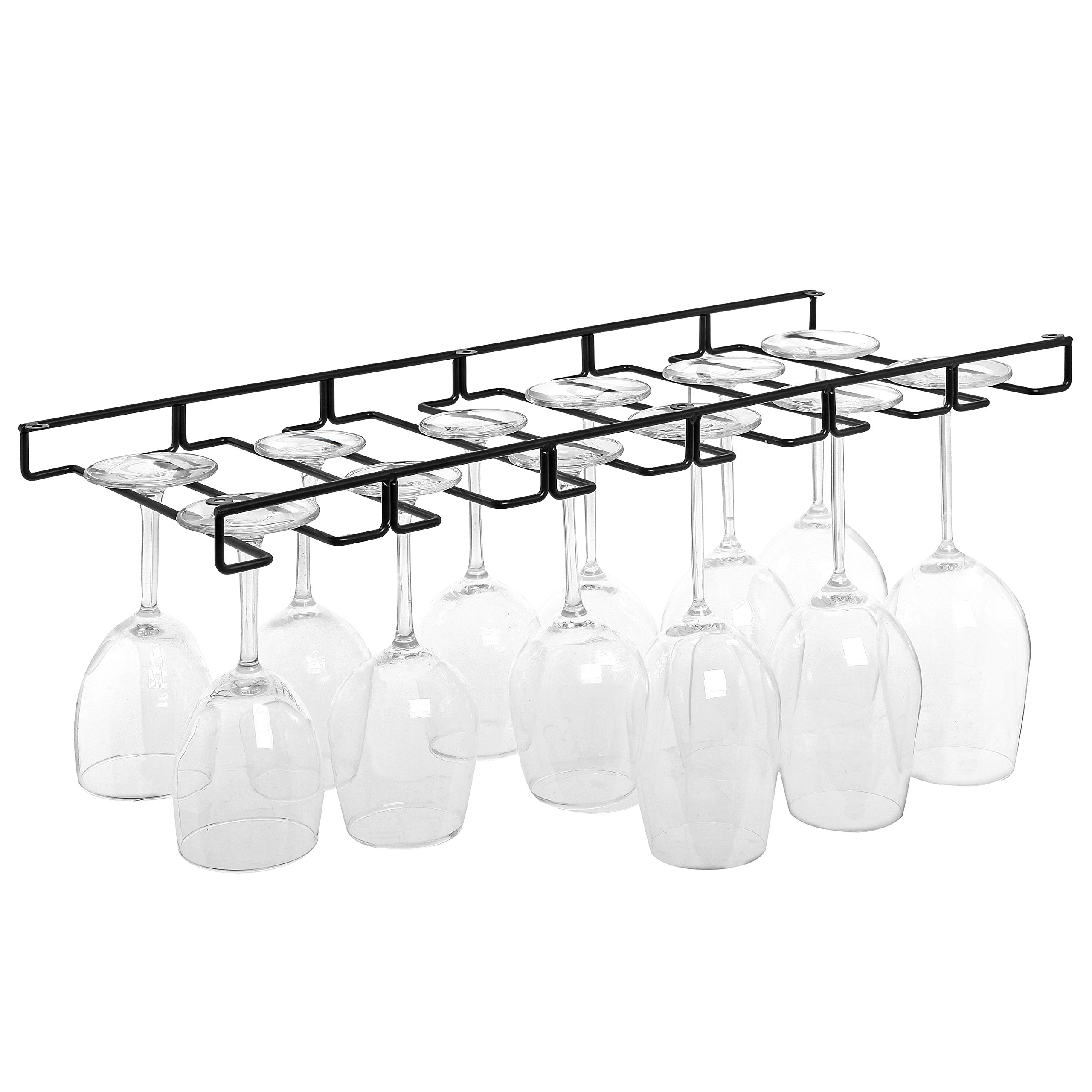 Modern Black Metal Wire Under Cabinet Stemware Wine Glasses Hanger Organizer Storage Holder Rack by MyGift