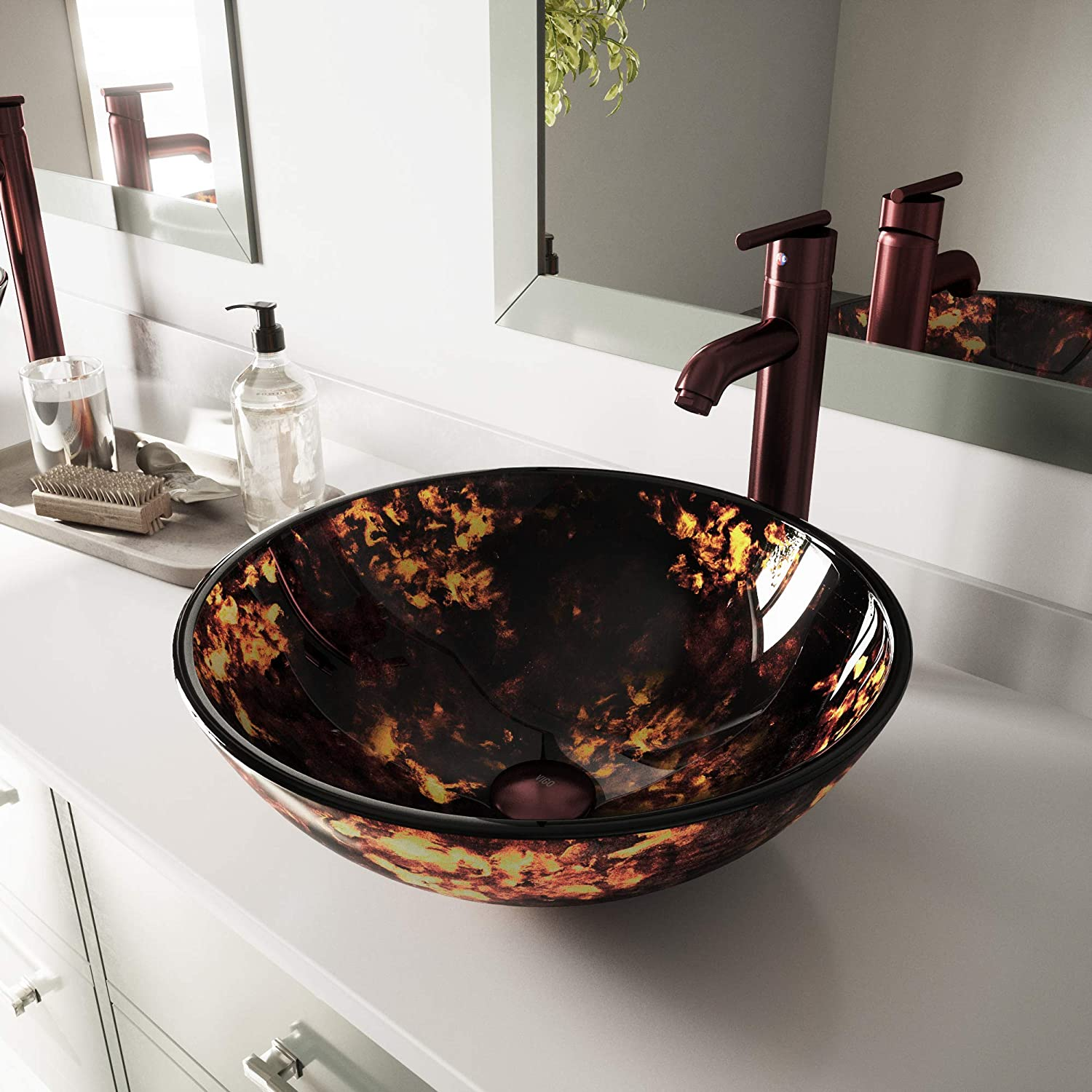 VIGO Brown and Gold Fusion Glass Vessel Bathroom Sink and Seville Vessel Faucet with Pop Up, Oil Rubbed Bronze