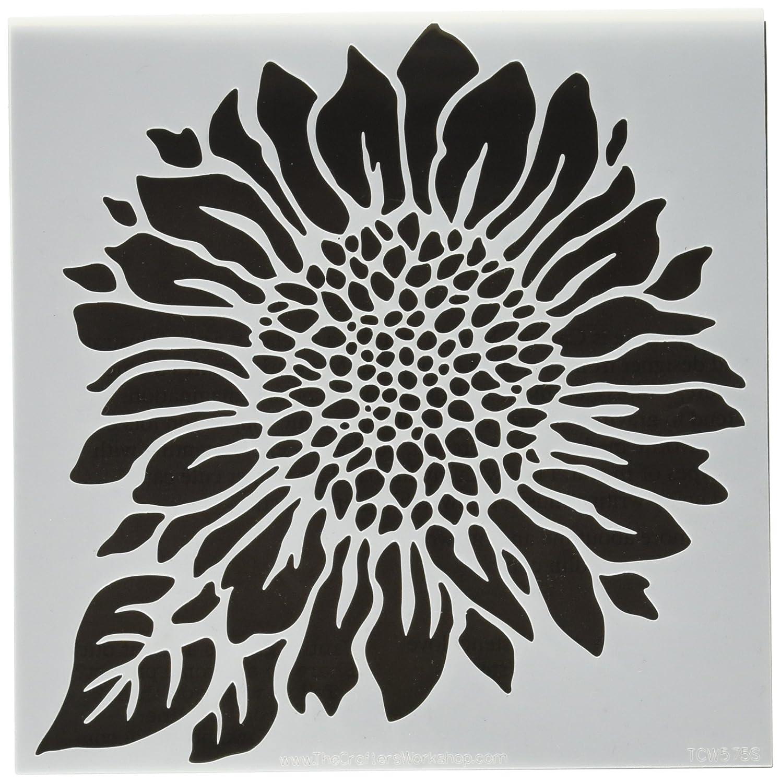 Crafters Workshop-Stencil, in plastica, 15 cm x 6 cm, motivo girasole, motivo: gioia TCW6X6-575