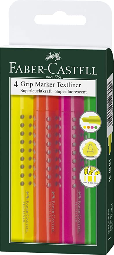 Faber Castell Textmarker GRIP MARKER Textliner gelb Stift Faserschreiber