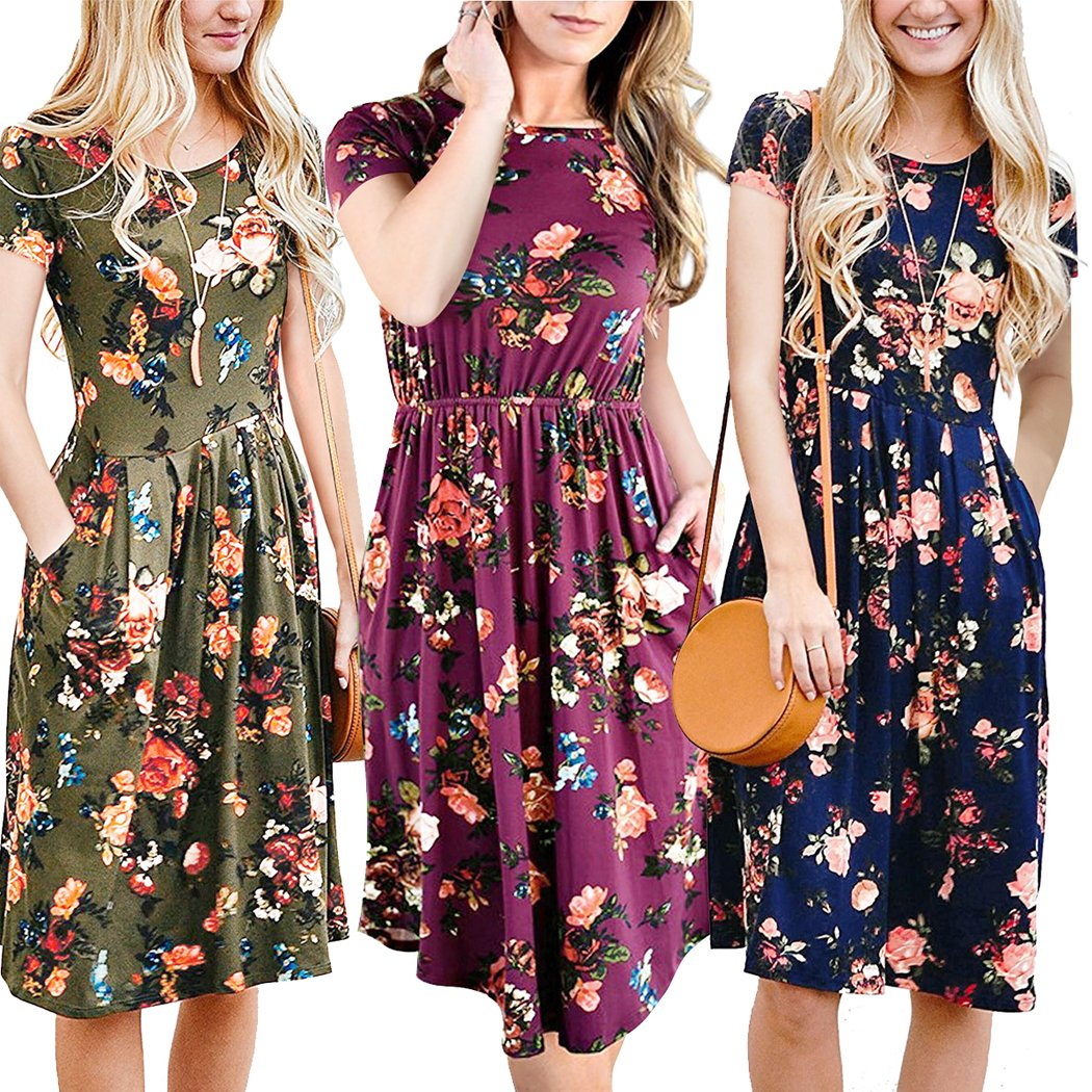 d9e7f5bd5f2 ECOWISH Womens Dresses Summer Floral Short Sleeve Elastic Waist Vintage  Retro Midi Dress with Pockets at Amazon Women s Clothing store