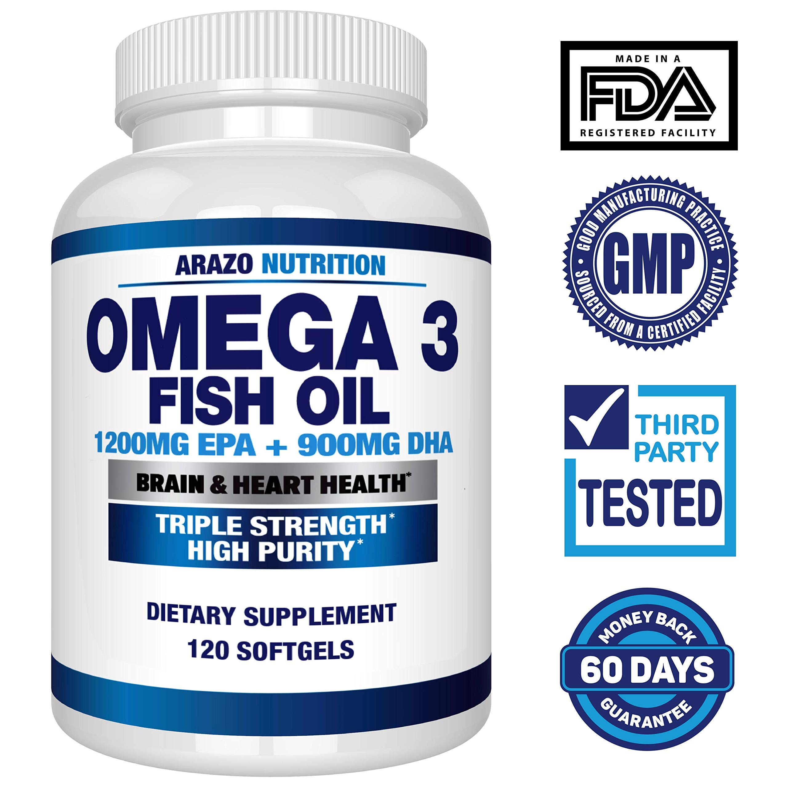 Omega 3 Fish Oil 2250mg   HIGH EPA 1200MG + DHA 900MG Triple Strength Burpless Capsules   120 Pills   Arazo Nutrition by Arazo Nutrition (Image #2)