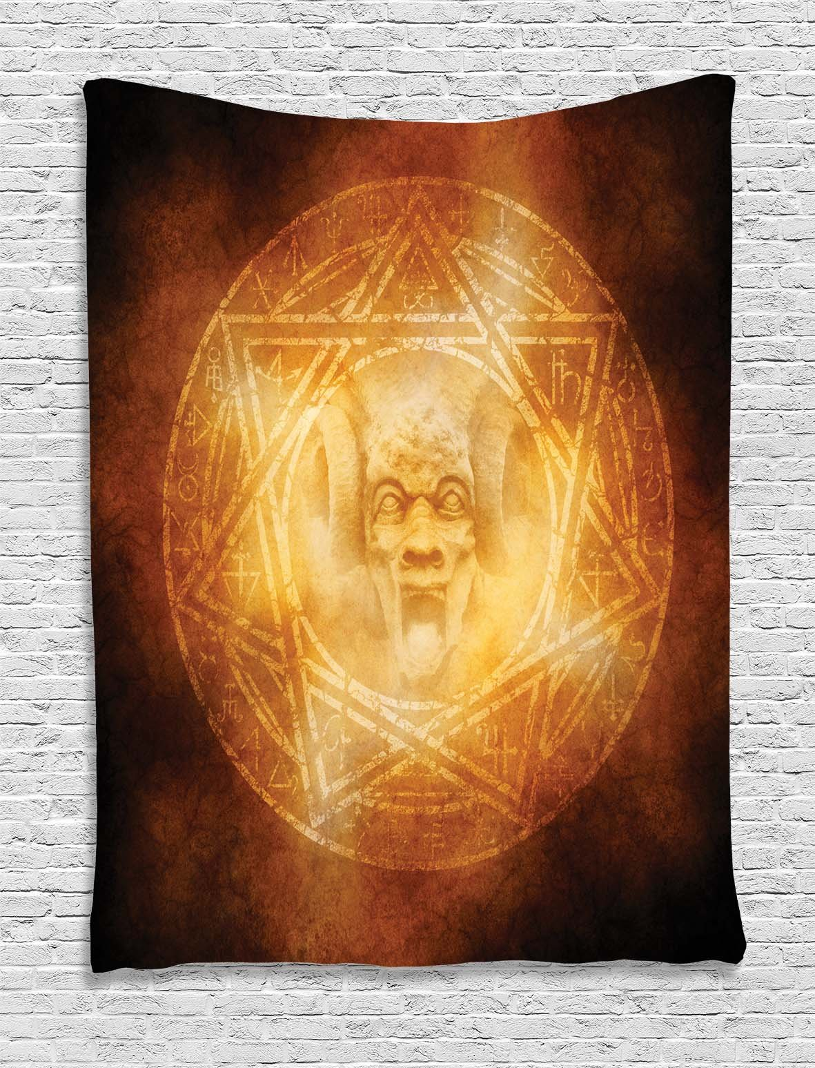 Ambesonne Horror House Decor Tapestry, Demon Trap Symbol Logo Ceremony Creepy Ritual Fantasy Paranormal Design, Wall Hanging for Bedroom Living Room Dorm, 40 W x 60 L Inches, Orange