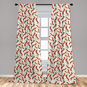 Lunarable Cinco De Mayo Curtains, Graphic Hot Chili Peppers Pattern on Colorful Dotted Background, Window Treatments 2 Panel Set for Living Room Bedroom Decor, 56