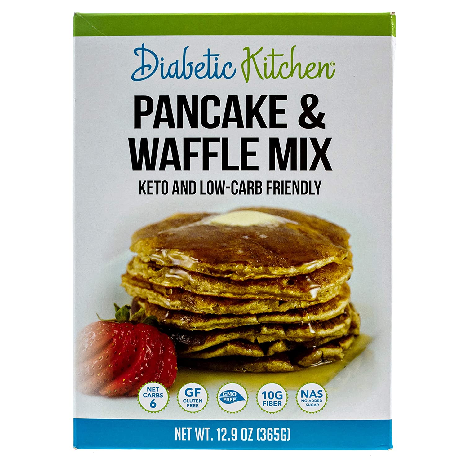 Diabetic Kitchen Pancake & Waffle Mix, Keto Friendly, Low Carb, Gluten-Free, 10g Fiber, No Artificial Sweeteners or Sugar Alcohols, Non-GMO and No Sugar Added