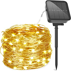 L-LATFF Solar Powered String Lights,10M 100 LED 8LIGHTING Modes Outdoor Waterproof Copper Wire 8 Modes Fairy Lights for Garden, Patio, Party, Christmas, Home