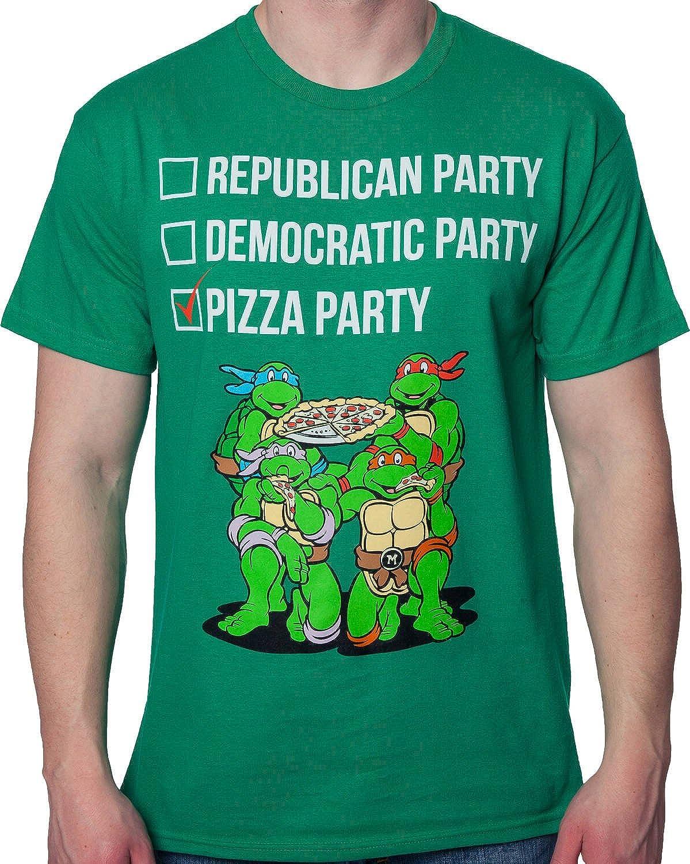 Adult Men/'s TMNT Teenage Mutant Ninja Turtles The Pizza Party Green T-Shirt Tee