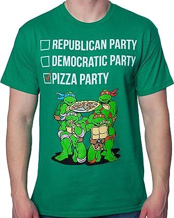 b59e59985e115 Freeze Men s TMNT Vote Pizza Party Teenage Mutant Ninja Turtles Shirt Kelly  Green XL