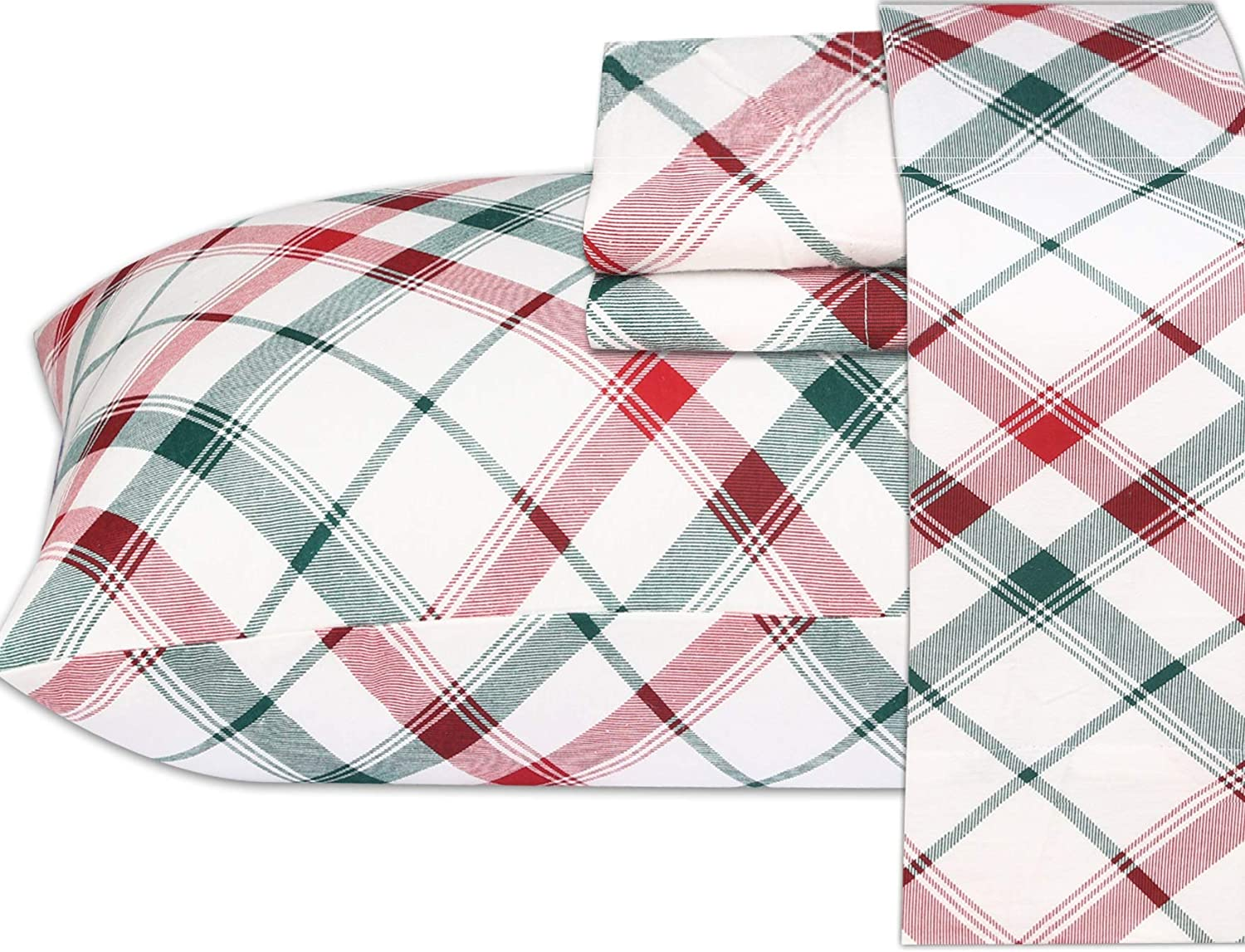 Ruvanti 100% Cotton 4 Pcs Flannel Sheets Queen, Red & Green Cross Plaid,Deep Pocket-Warm-Super Soft-Breathable Moisture Wicking Flannel Bed Sheet Set Include Flat Sheet, Fitted Sheet 2 Pillowcases