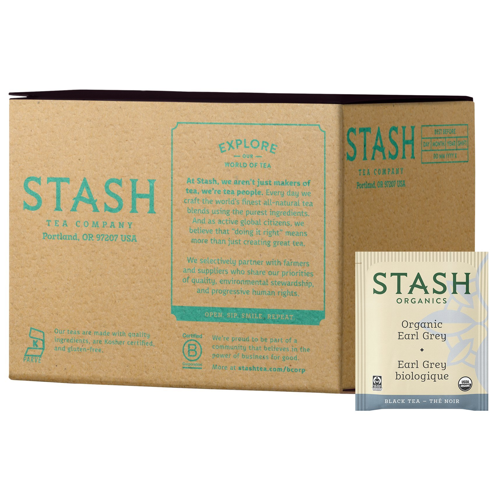 Stash Tea Organic Earl Grey Green and Black Tea 100 Count Tea Bags in Foil (Packaging May Vary) Individual Tea Bags for Use in Teapots Mugs or Cups, Black Tea and Green Tea, Brew Hot or Iced