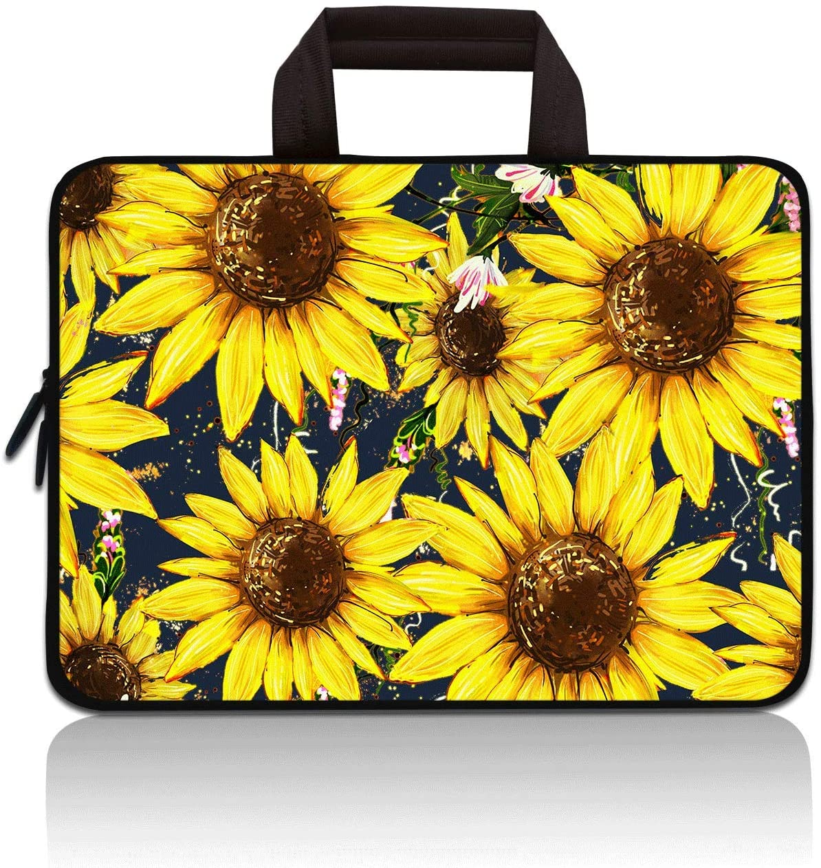 RUYIDAY 11 11.6 12 12.1 12.5 inch Laptop Carrying Bag Chromebook Case Notebook Ultrabook Bag Tablet Cover Neoprene Sleeve Fit Apple MacBook Air Samsung Acer HP DELL Lenovo Asus (Sunflower)