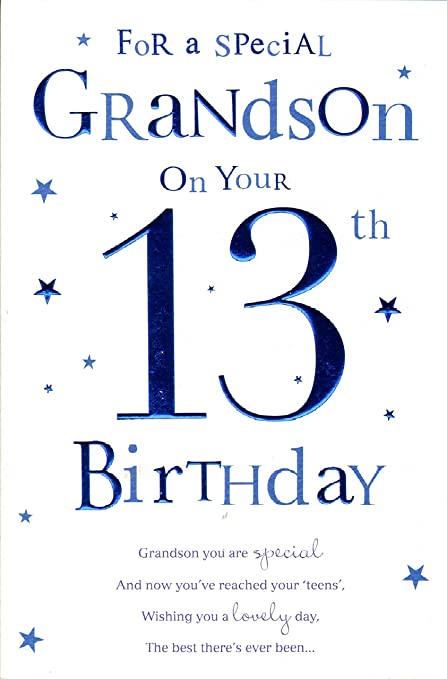 Grandson 13th Birthday Card Amazoncouk Kitchen Home