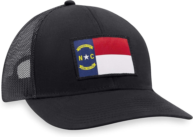 North Carolina Flag Hat - Trucker Mesh Snapback Baseball Cap - Black