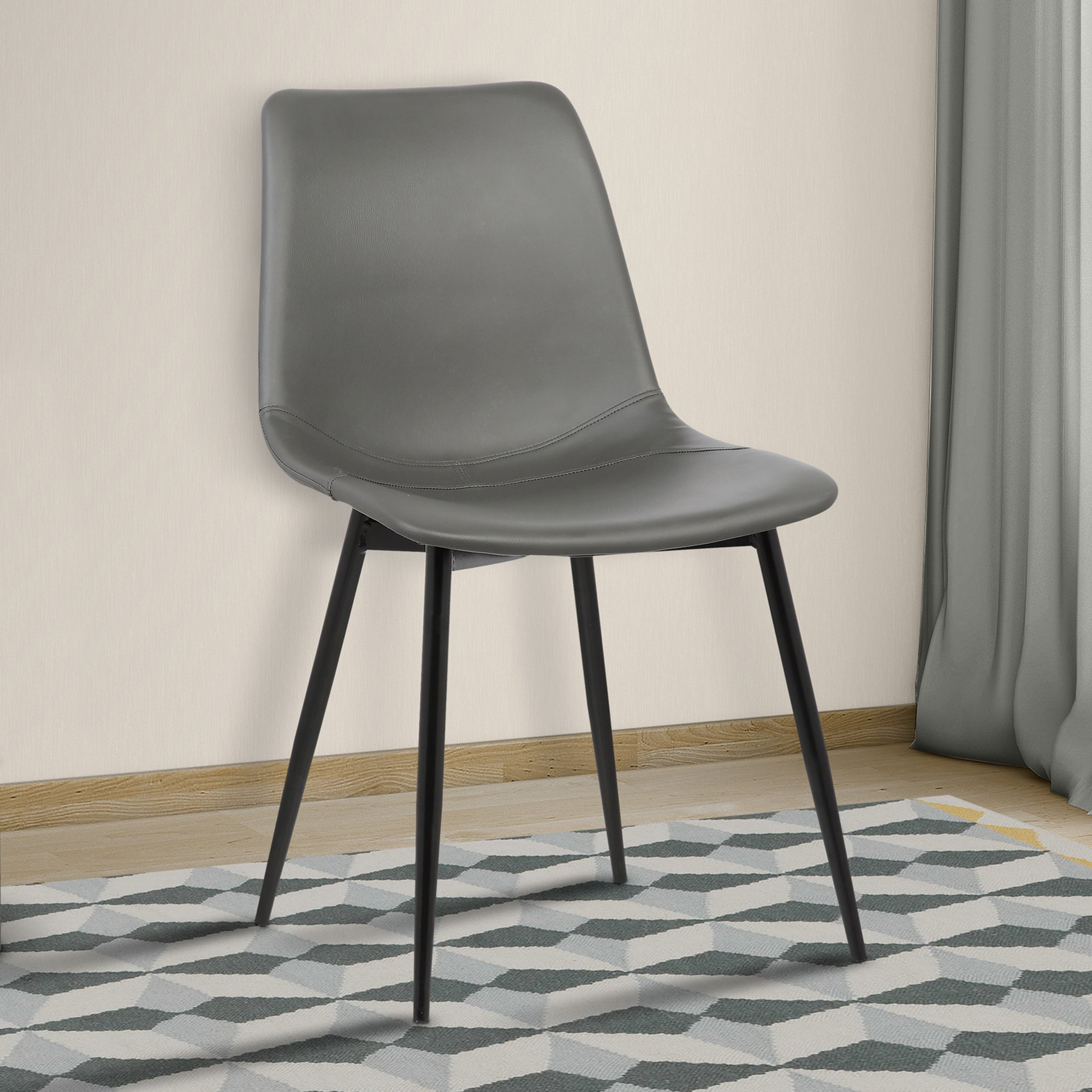 Armen Living LCMOCHGREY Monte Dining Chair in Grey Faux Leather and Auburn Bay Finish