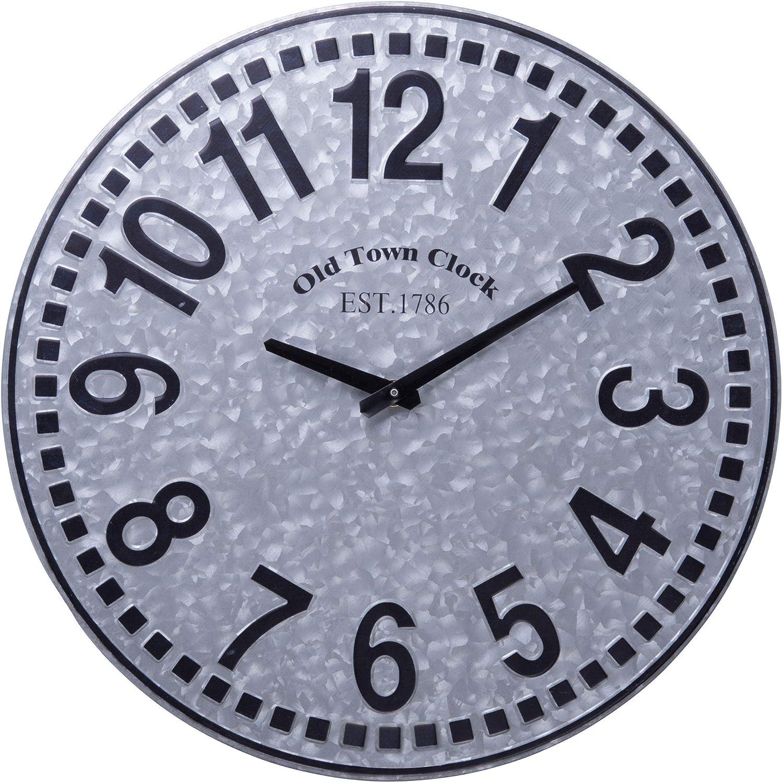 Home Essentials Galvanized Wall Clock, 16-Inch Diameter