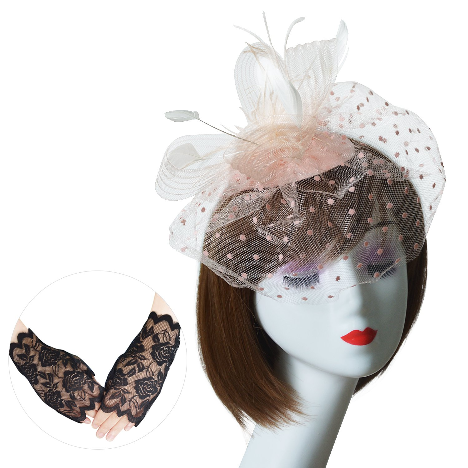 U-Zomir Fascinator Hat Feather Mesh Party Hat Flower Wedding Derby Cocktail Tea Party Headband with Clip and Lace Glove for Girls and Women (Style 2-Champagne)