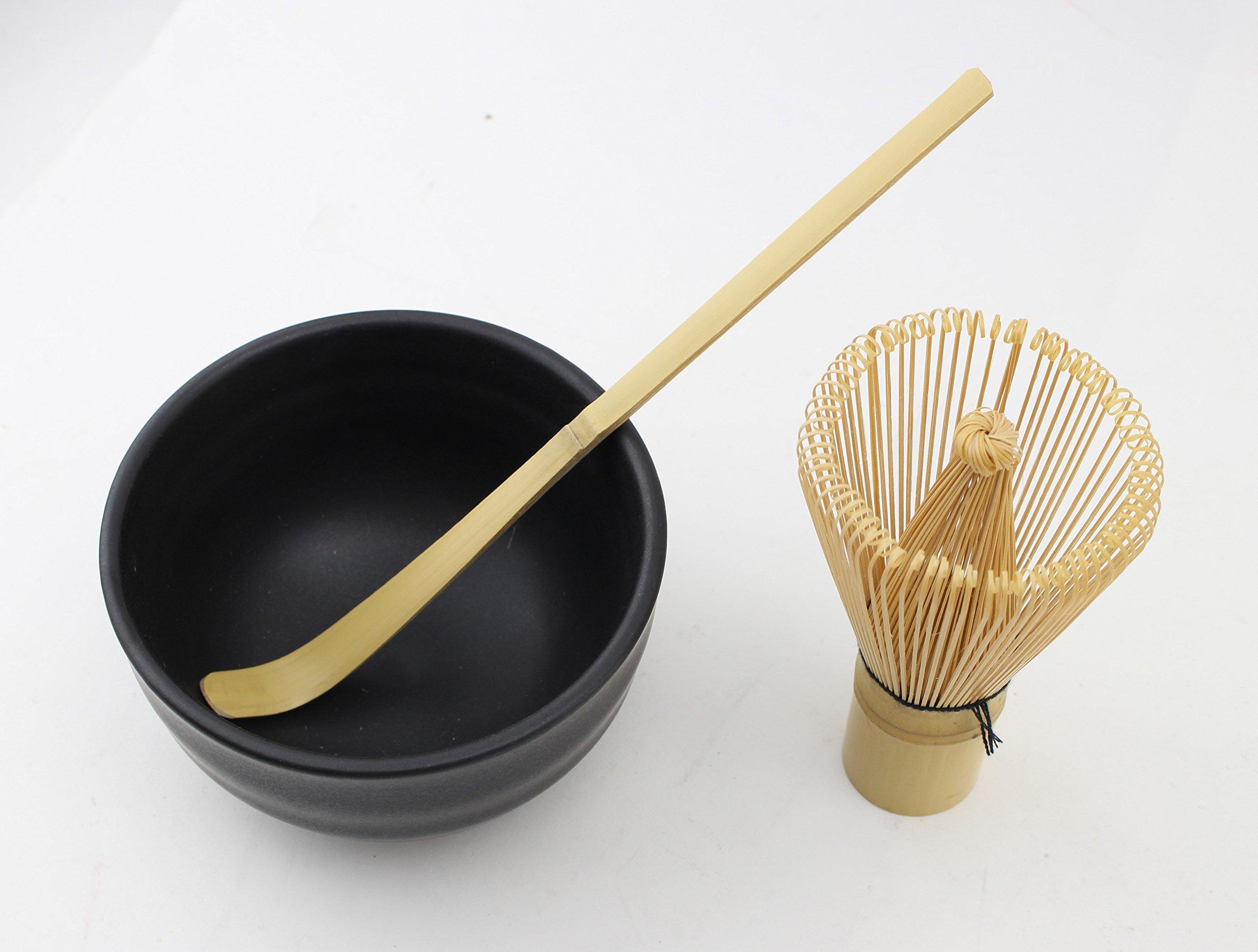 Matcha Whisk Set まっちゃ 抹茶 - Brush + Ceramic Bowl + Scoop / 八十本立 Japanese Green Tea Bamboo Preparing Tool 3 Piece Set by We pay your sales tax