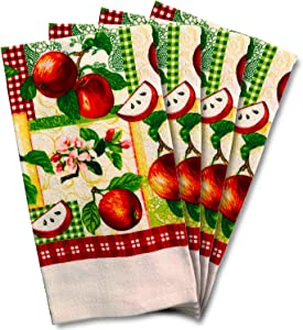 JJ Collection 4 Pack Absorbent Kitchen Dish Towels 15x25 Cotton Poly (Red Apple)