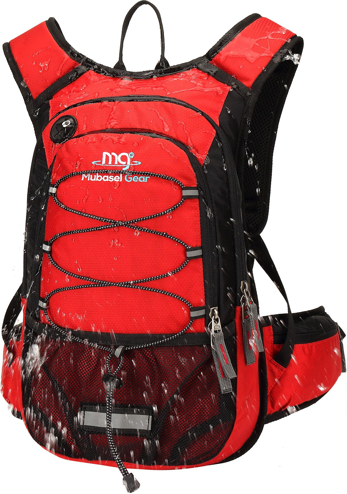 Mubasel Gear Insulated Hydration Backpack with 2L BPA Free Bladder - Keeps Liquid Cool up to 5 Hours – Waterproof Pack for Running, Hiking, Cycling, Camping (Red)