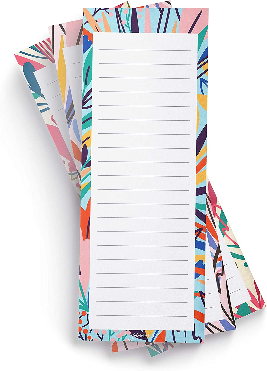 Jot & Mark Exotic Floral Print Shopping List Pads | Elegant Magnetic Notepads for Groceries and to-Do Lists (Set of Three)