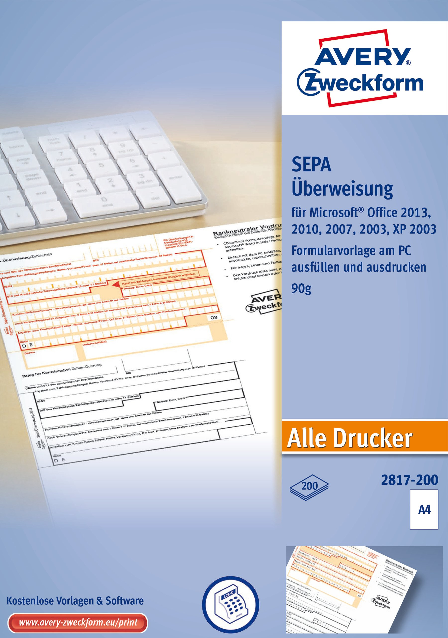 Avery Zweckform 2817Überweisung/Payment Slip PC Printer Form, 200Sheets of A4 by Avery Dennison