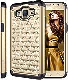Galaxy Grand Prime 2016 Case, Galaxy J2 Prime Case, Style4U Studded Rhinestone Crystal Bling Hybrid Armor Case Cover for Samsung Galaxy Grand Prime 2016 / Galaxy J2 Prime with 1 Stylus [Gold / Black]