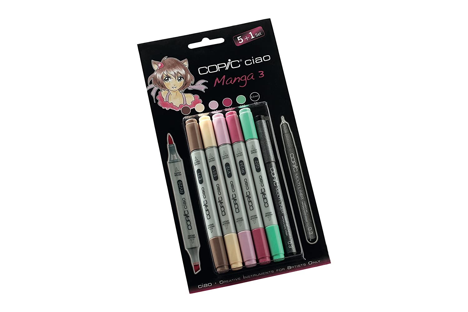Copic 22075558 Ciao Set 5+1, Manga 3 Too Marker Products Inc.