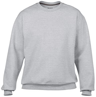 6370e02ae9cd20 Gildan Premium Cotton Crew Neck Sweatshirt GD063 (XL, RS Sport Grey): Amazon .co.uk: Clothing