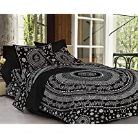 PURE COMFORT 144TC 100% Cotton Super King Size Double Bedsheet with 2 Pillow Covers (Black)