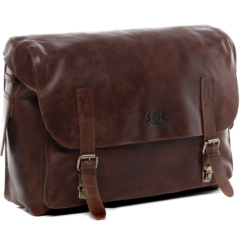 SID & VAIN Aktentasche Leder Eton XL groß Businesstasche Herren 15 Zoll Laptop Bürotasche Laptoptasche mit Gepolstertem Gerätefach echte Ledertasche Herrentasche braun