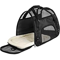 Airline Approved Soft Sided Pet Carriers, Low Profile Travel Tote with Cozy and Soft Dog Bed, Collapsible, Travel Friendly, Pet Travel Carrier Bag for Small Dogs, Cats, Puppies, Kittens, Small Pet