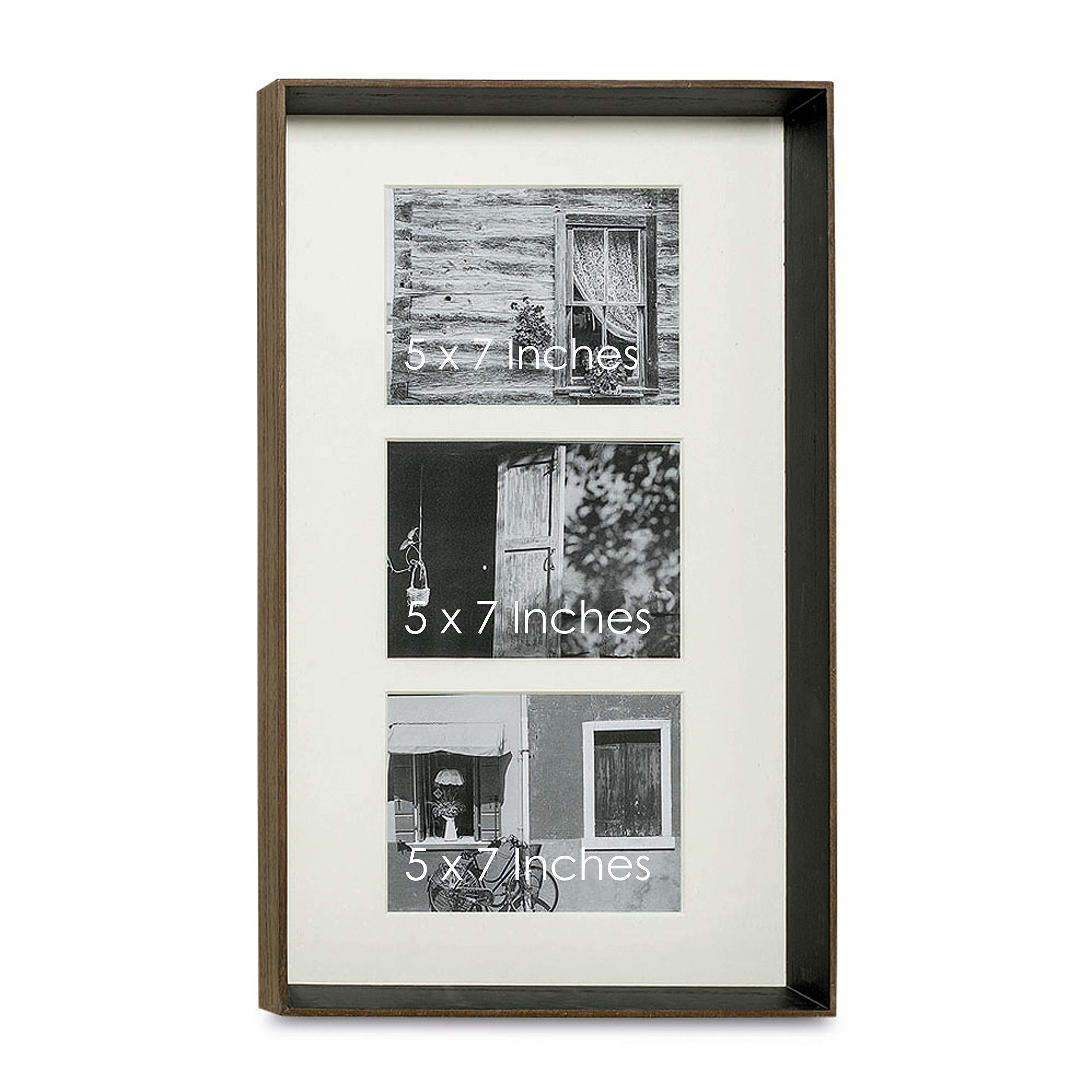 The Chelsea Art Gallery Frame, For 3 Pictures, Double Window Bevel Cut Ivory Matte, Each Opening is 5 x 7 Inches, Quality Solid Wood, Brown and Black. Overall 20 x 12 3/4 Inch Rectangle, By WHW