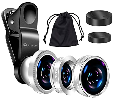 Act Universal 3 In 1 Mobile Phone Camera Lens Kit 180 Degree Fish Eye Lens Macro Lens Wide Angle Lens For I Phone I Pad Samsung Galaxy And All Smartphones (Silver) by Act
