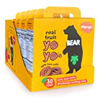 BEAR - Real Fruit Yoyos - Mango - 0.7 Ounce (30 Count) - No added Sugar, All Natural, non GMO, Gluten Free, Vegan - Healthy on-the-go snack for kids & adults