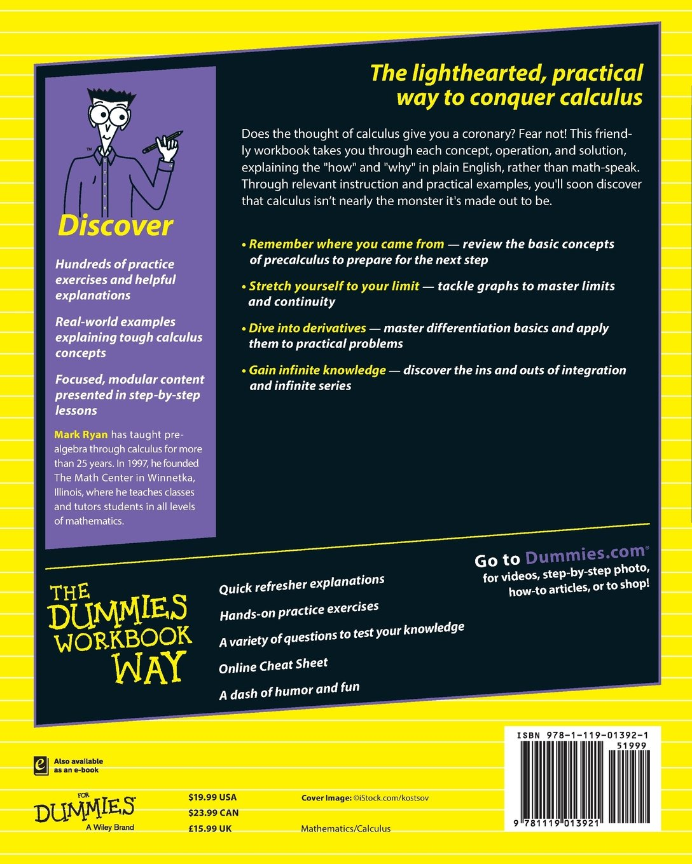 Calculus workbook for dummies livros na amazon brasil 9781119013921 fandeluxe Images