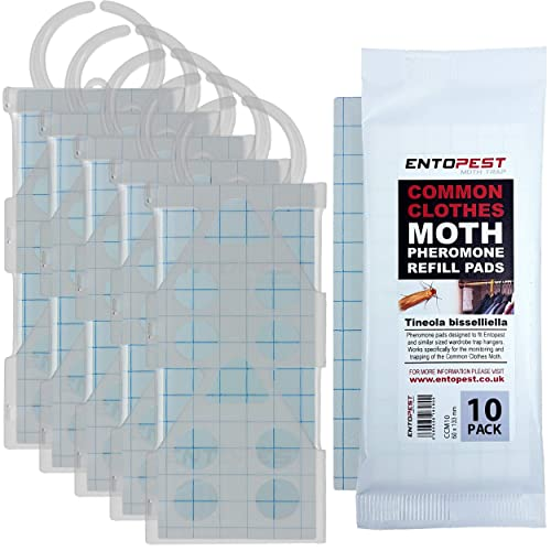 5 x Entopest Professional Common Clothes Moth Traps and 10 Pheromone Glue Boards