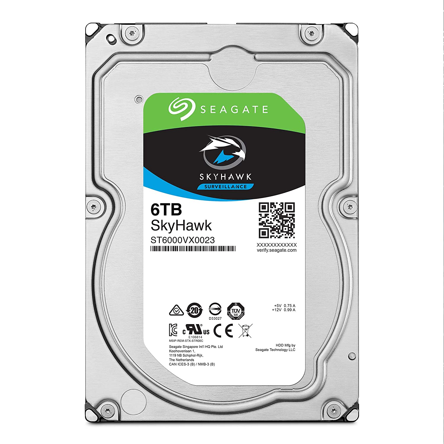 Seagate Skyhawk 6TB Surveillance Internal Hard Drive HDD – 3.5 Inch SATA 6GB/s 256MB Cache for DVR NVR Security Camera System with Drive Health Management – Frustration Free Packaging (ST6000VX001)