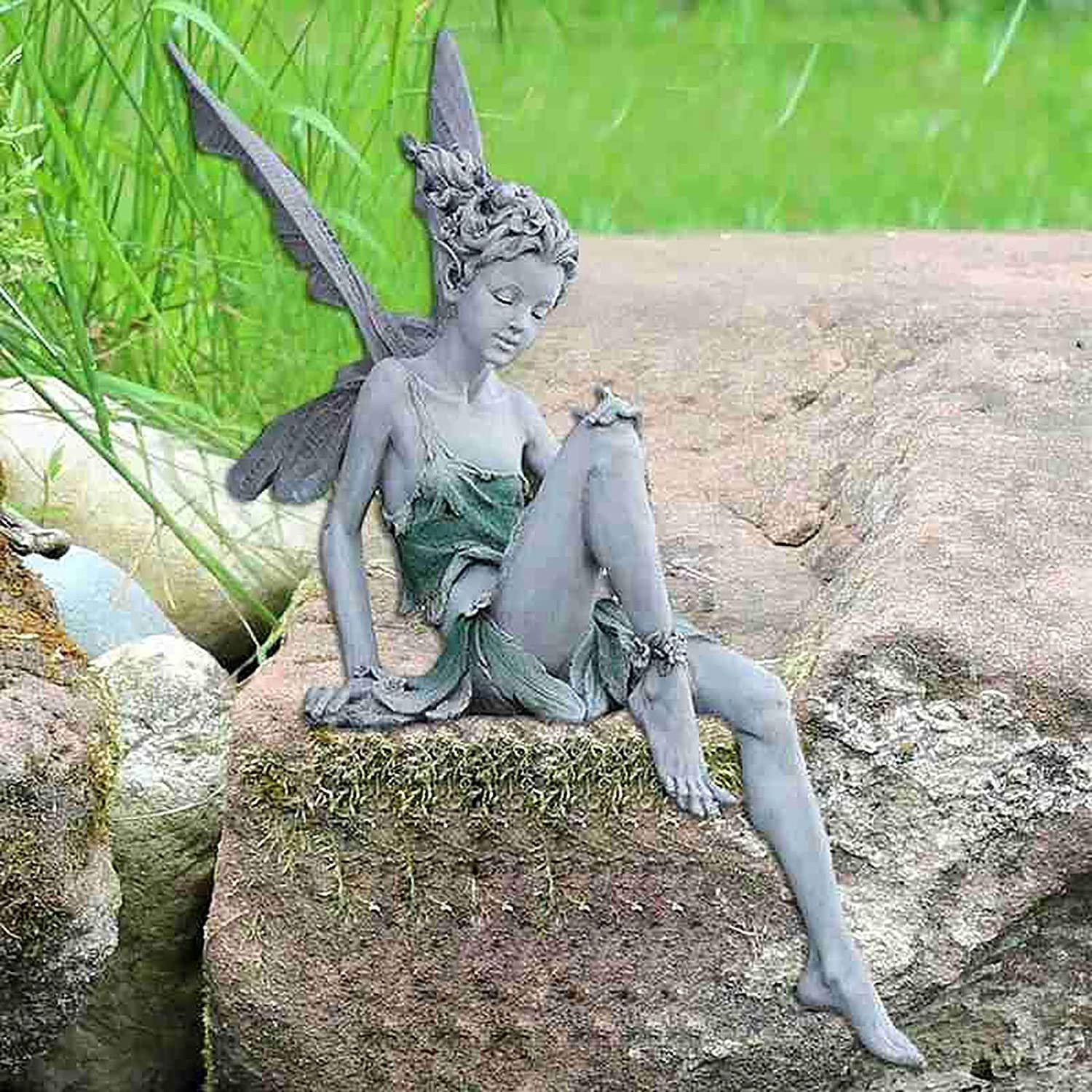 Nileco Sitting Fairy Garden Statues,Resin Flower Fairy Outdoor Statue Lifelike Garden Figures Sculptures,Angel Statues Ornaments for Lawn Pond Patio Courtyard Decor-White 18x8x15cm(7x3x6inch)