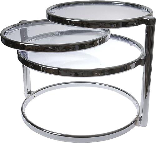 Present Time Leitmotiv Double Swivel Glass Table
